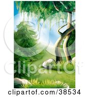 Clipart Illustration Of Lush Green Evergreens And Trees On A Forest Hillside