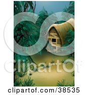 Clipart Illustration Of A Deserted Cottage In A Dark Misty Green Forest