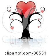 Clipart Illustration Of A Black Tree With One Large Red Heart On Top And Smaller Hearts Suspended From The Branches by dero #COLLC38551-0053