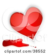 Clipart Illustration Of A Shiny Red Heart With Blood Splatters by dero