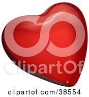 Clipart Illustration Of A 3d Red Heart With Shades Of Lighting by dero