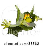 Flying Green Bat Pointing Right