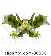 Happy Green Bat Flying Forwards With His Arms Out