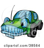 Clipart Illustration Of A Friendly Green Car Character With Wide Tires
