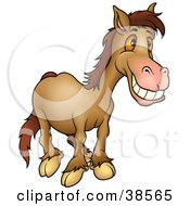 Clipart Illustration Of A Grinning Brown Horse With Orange Eyes