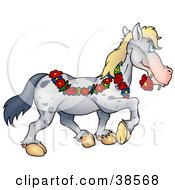 Clipart Illustration Of A Spotted Gray Horse Draped In A Floral Garland Biting A Red Daisy In Its Mouth