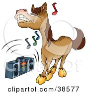 Clipart Illustration Of A Brown Horse Dancing To Music Playing On A Boom Box