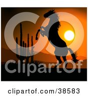 Clipart Illustration Of A Rearing Wile Horse In The Desert Silhouetted Against An Orange Sunset