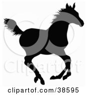 Clipart Illustration Of A Black Silhouette Of A Galloping Horse by dero #COLLC38595-0053
