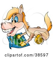 Clipart Illustration Of A Happy Horse Gazing At A Map by dero