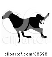 Clipart Illustration Of A Black Silhouetted Trotting Horse by dero