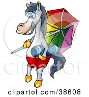 Vacationing Horse With A Towel And Umbrella On The Beach
