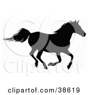 Clipart Illustration Of A Black Silhouette Of A Horse Galloping by dero #COLLC38619-0053