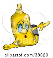 Clipart Illustration Of A Yellow Marker Pointing Right