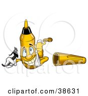 Clipart Illustration Of A Smiling Yellow Marker Holding His Sunglasses And Laying On His Belly by dero