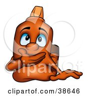 Clipart Illustration Of A Shocked Orange Marker Covering His Mouth by dero