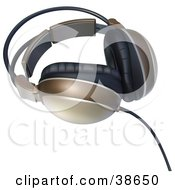 Clipart Illustration Of A Pair Of Brown Headphones by dero