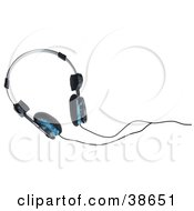 Clipart Illustration Of A Pair Of Black And Blue Headphones by dero