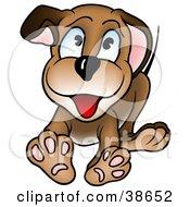 Clipart Illustration Of A Friendly Blue Eyed Puppy Dog Running Forward