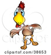 Clipart Illustration Of A Brown Hen Chicken Guarding An Egg