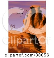 Vultures Flying Over Rock Formations And Dead Trees In A Desert Landscape
