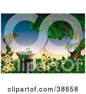 Clipart Illustration Of A Column Surrounded By Flowering Vines And A Large Tree In A Garden by dero