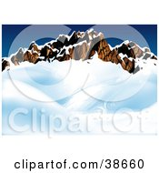 Clipart Illustration Of A Rocky Mountain Ridge Surrounded By Snow