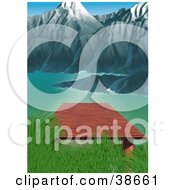 Clipart Illustration Of A Wooden Dock Over A Mountain Lake With Steep Cliffs In The Background