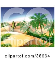 Clipart Illustration Of A Cactus And Palm Trees In A Desert Oasis