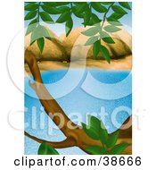 Clipart Illustration Of A Tree Branch And Leaves Framing The Scene Of A Blue Lake by dero