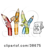 Clipart Illustration Of A Yellow Green And Blue Colored Pencils Laughing As A Red One Shows Off A Shaving by dero