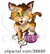 Clipart Illustration Of A Brown Cat With Green Eyes Playing With A Ball Of Purple Yarn