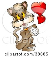 Clipart Illustration Of A Romantic Brown Cat Daydreaming About His Love by dero