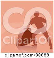 Clipart Illustration Of A Silhouetted Man Leaning Against A Heart On A Pink Background With Lines by dero