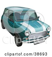 Clipart Illustration Of A Vintage Green Mini Cooper Car With White Stripes On The Hood by dero