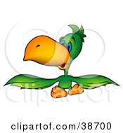 Clipart Illustration Of A Sad Blue Eyed Green Parrot Spanning His Wings by dero