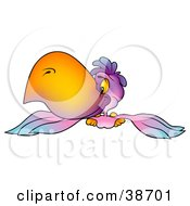 Clipart Illustration Of A Purple Parrot With A Big Orange Beak Flying Forward by dero