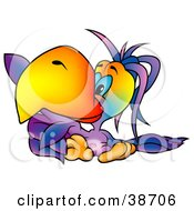 Clipart Illustration Of A Blue Eyed Purple Parrot With A Big Orange Beak Pointing To The Left by dero