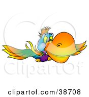 Clipart Illustration Of A Colorful Parrot With A Yellow Beak Flying Forward by dero