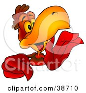 Clipart Illustration Of A Gossiping Red Parrot Whispering And Pointing by dero
