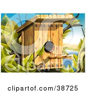 Clipart Illustration Of A Wood Bird House With A Perching Stick by dero