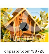 Clipart Illustration Of A Wooden Bird House With A Perch Stick Extended From The Front by dero