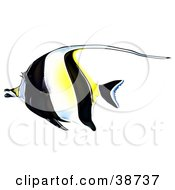 Clipart Illustration Of A Black White And Yellow Moorish Idol Zanclus Cornutus In Profile by dero