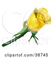 Clipart Illustration Of A Single Yellow Rose With Thorns by dero