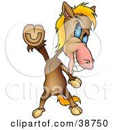 Clipart Illustration Of A Brown Horse Doing The Travolta Disco Dance Move