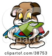 Clipart Illustration Of A Brown Dog Carrying A Messy Stack Of Folders