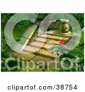 Clipart Illustration Of Lush Green Jungle Plants Growing Around Steps Of Old Ruins
