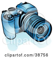 Clipart Illustration Of A Blue Digital Camera by dero