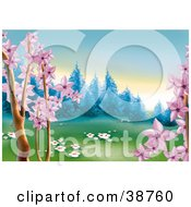 Clipart Illustration Of Pink Spring Tree Blossoms And White Flowers In Grass Framing A Meadow At The Edge Of A Forest Scene