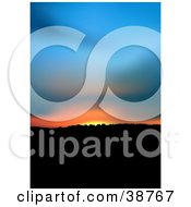 Clipart Illustration Of A Blue Orange And Yellow Sunset Over Hills